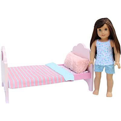 """PZAS Toys Doll Bed - Doll Bed for 18 Inch Doll, Complete Set with Linens, Pillows, and 18"""" Doll Pajamas, Compatible with All 18"""" Dolls: Toys & Games"""