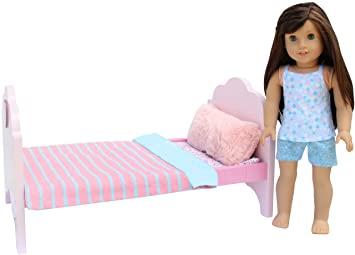 Pink Dolls Bed Girls Toy pretend Play Blanket /& Pillow UK SELLER