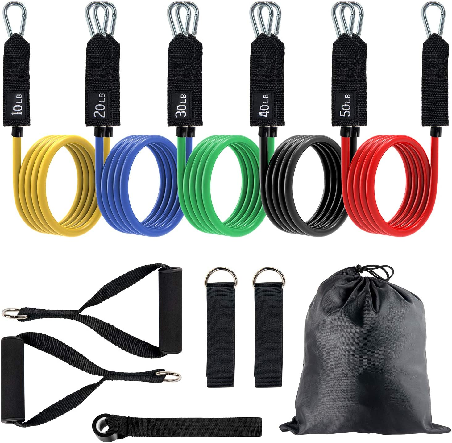 Stackable Up to 150 lbs Physical Therapy Home Workout Exercise Bands with Door Anchor /& Ankle Straps for Resistance Training Toncur Resistance Bands Set with Handles