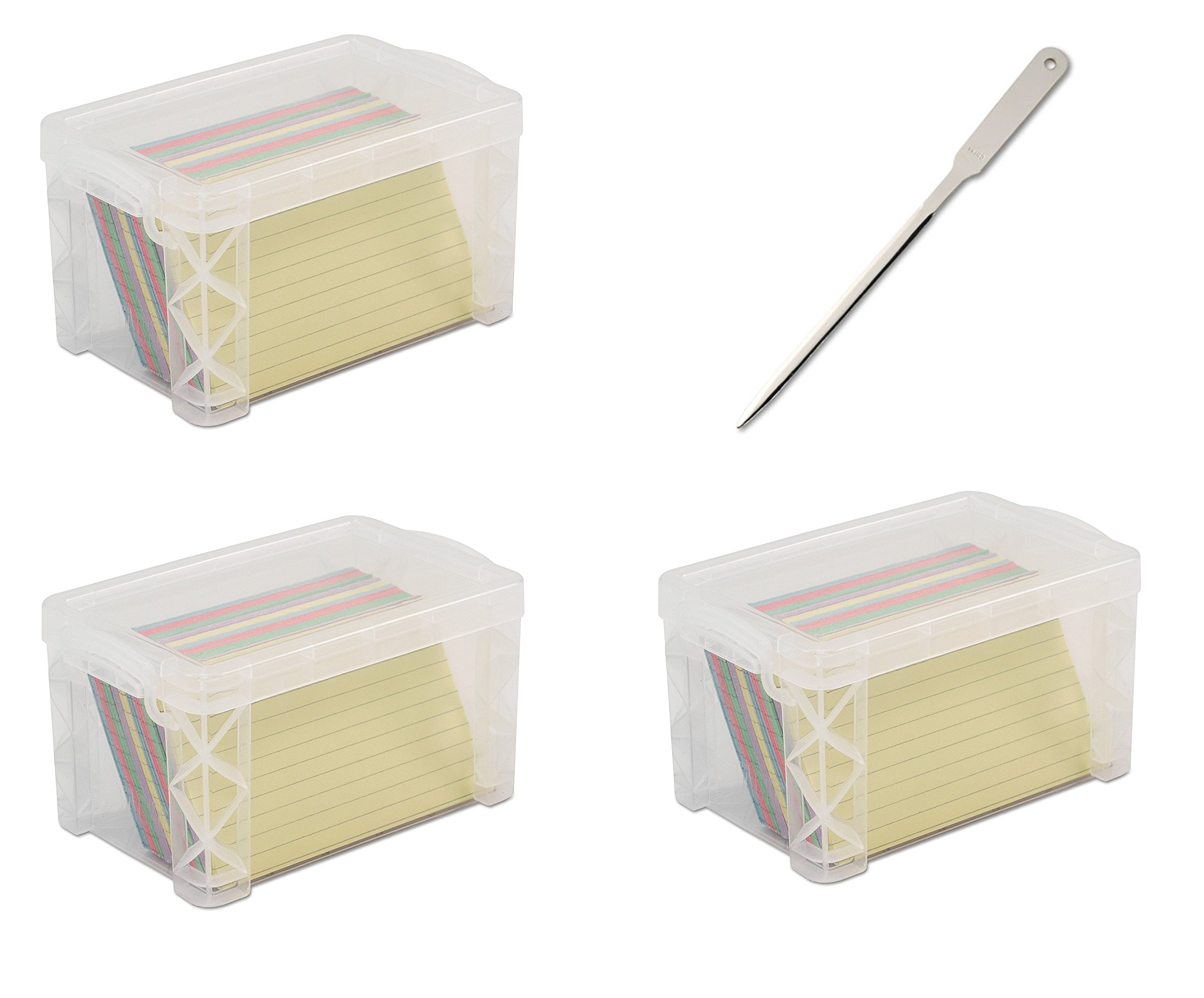 Advantus 40307 Super Stacker 3'' x 5'' Index Card Box, Clear, 3 Boxes (40307) - Bundle Includes Universal Letter Opener