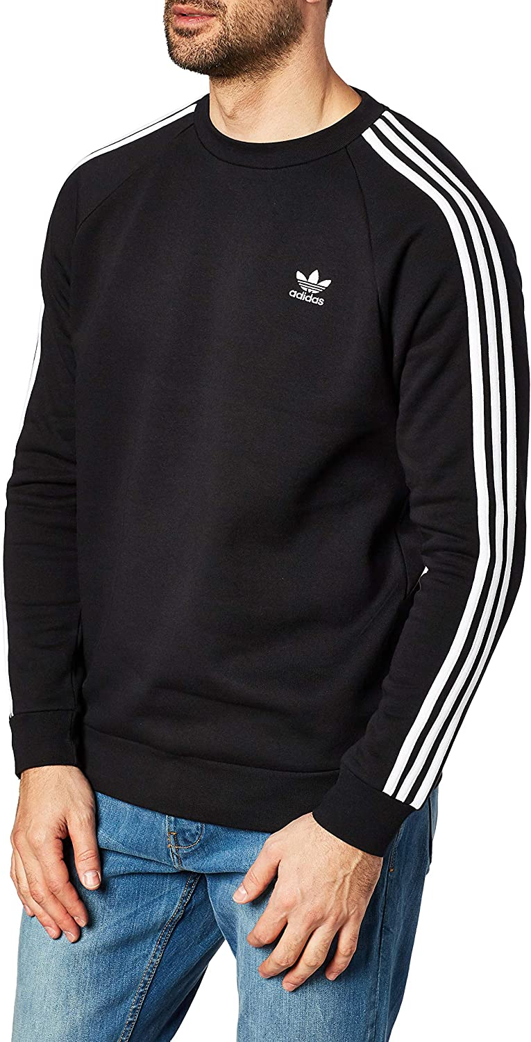 adidas - 3-Stripes Crew, Felpa Uomo Nero (Black)