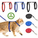 Cat Harness with Leash, 3-Pack, Unique Stars and Moon Design, Escape Proof, Walking, Small Medium Large, Black, Red, Blue, Ad