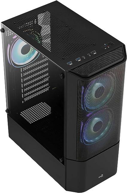 Caja PC ATX Aerocool QUANTUMMESHV3BK Negro 3X Ventilador RGB Cristal Templado