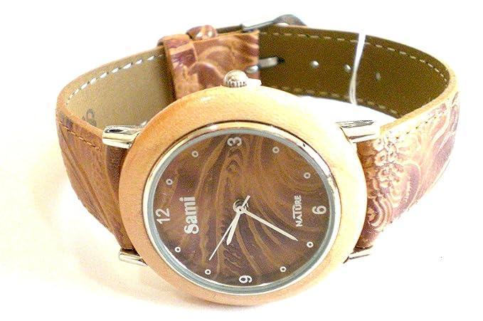 Sami RSM-55592-2 Nature Reloj de Pulsera de Mujer Corona Madera Correa Piel Marron: Amazon.es: Relojes