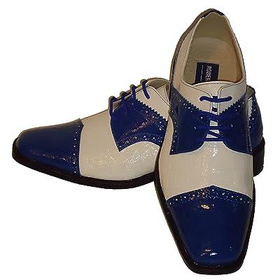 Robeto Chillini 6744 Mens Royal Blue White Shiny Croc-Look Wingtip Dress Shoes   Oxfords