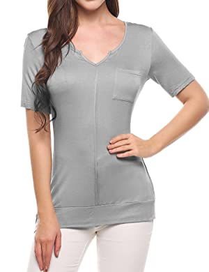 Meaneor Women Sexy V Neck Roll Up Sleeve Loose Tunic Tops Soft Stretch Tee Shirts Blouse (Grey XL)