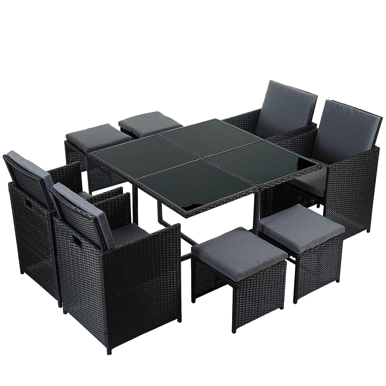 Rattan lounge schwarz grau  Amazon.de: Poly-Rattan Garten-Garnitur Kreta, Lounge-Set ...