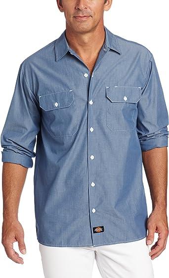 Dickies - - Hombres camiseta manga larga WL509 Chambray