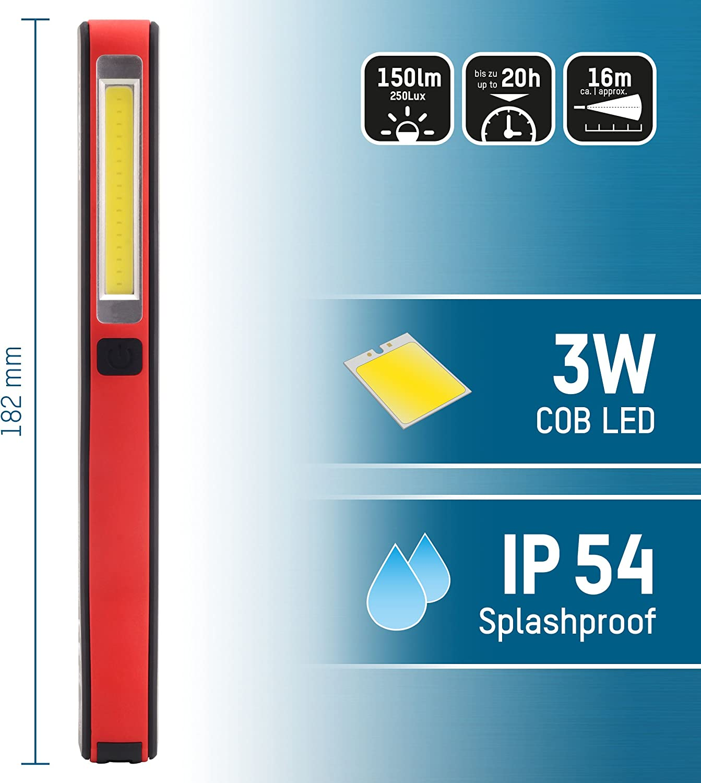 Lampe de travail /à LED avec clip magn/étique pour le camping et les voitures Lampe torche universelle pour les r/évisions dans les ateliers ANSMANN Lampe dinspection /à piles IL150B