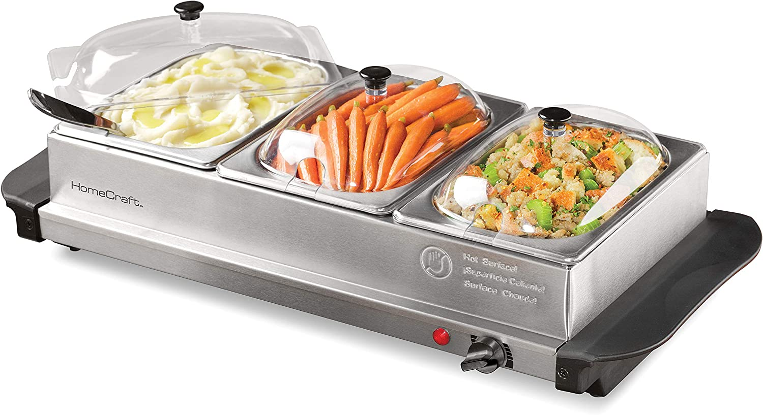 HomeCraft HCBS15SS 3-Station 1.5-Quart Stainless Steel Buffet Server Slow Cooker & Warming Tray, Adjustable Temperature, Perfect For Dinner, Appetizers