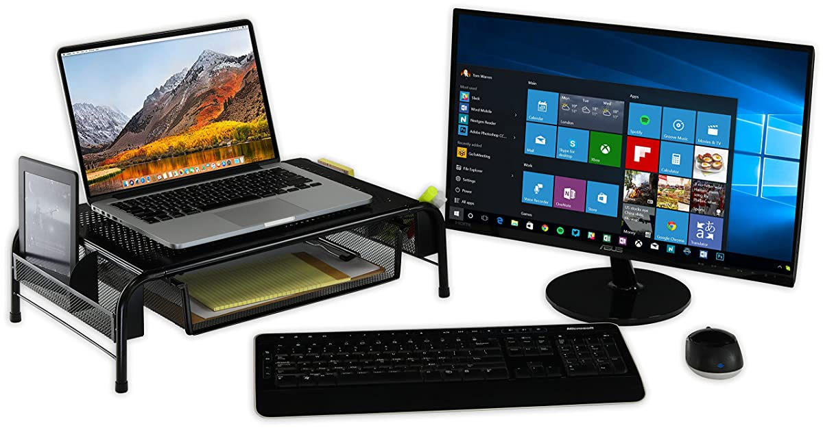 SimpleHouseware Metal Desk Monitor Stand Riser with Organizer Drawer