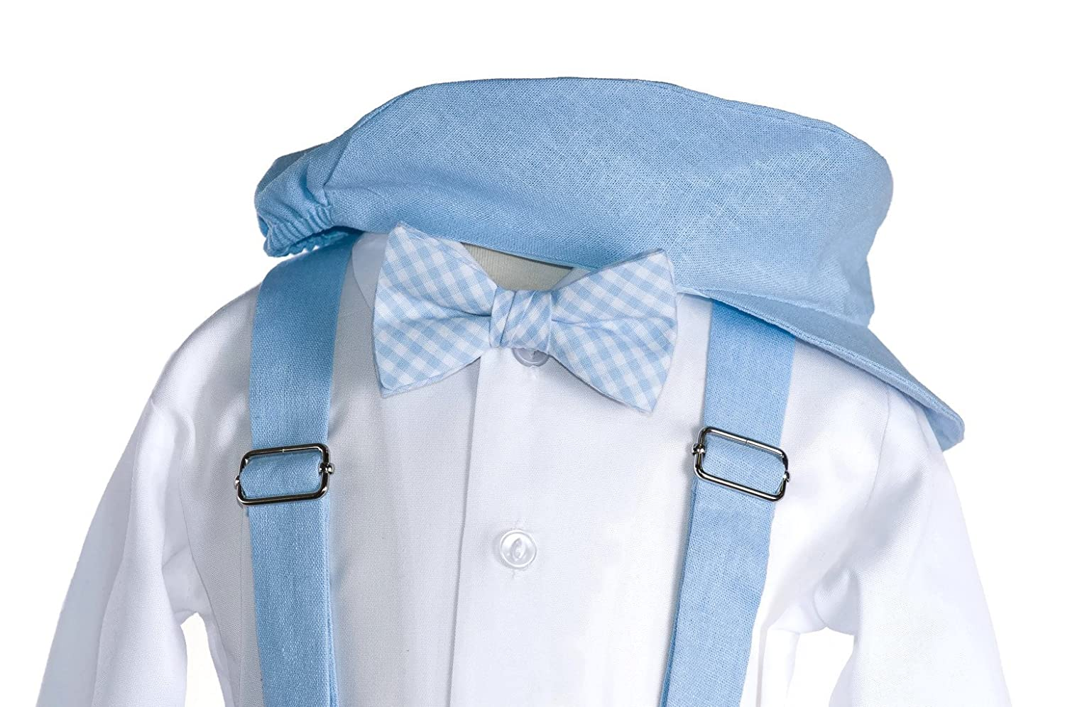 Boys Blue Linen Knicker Outfit with Gingham Bow Tie Baby and Toddlers