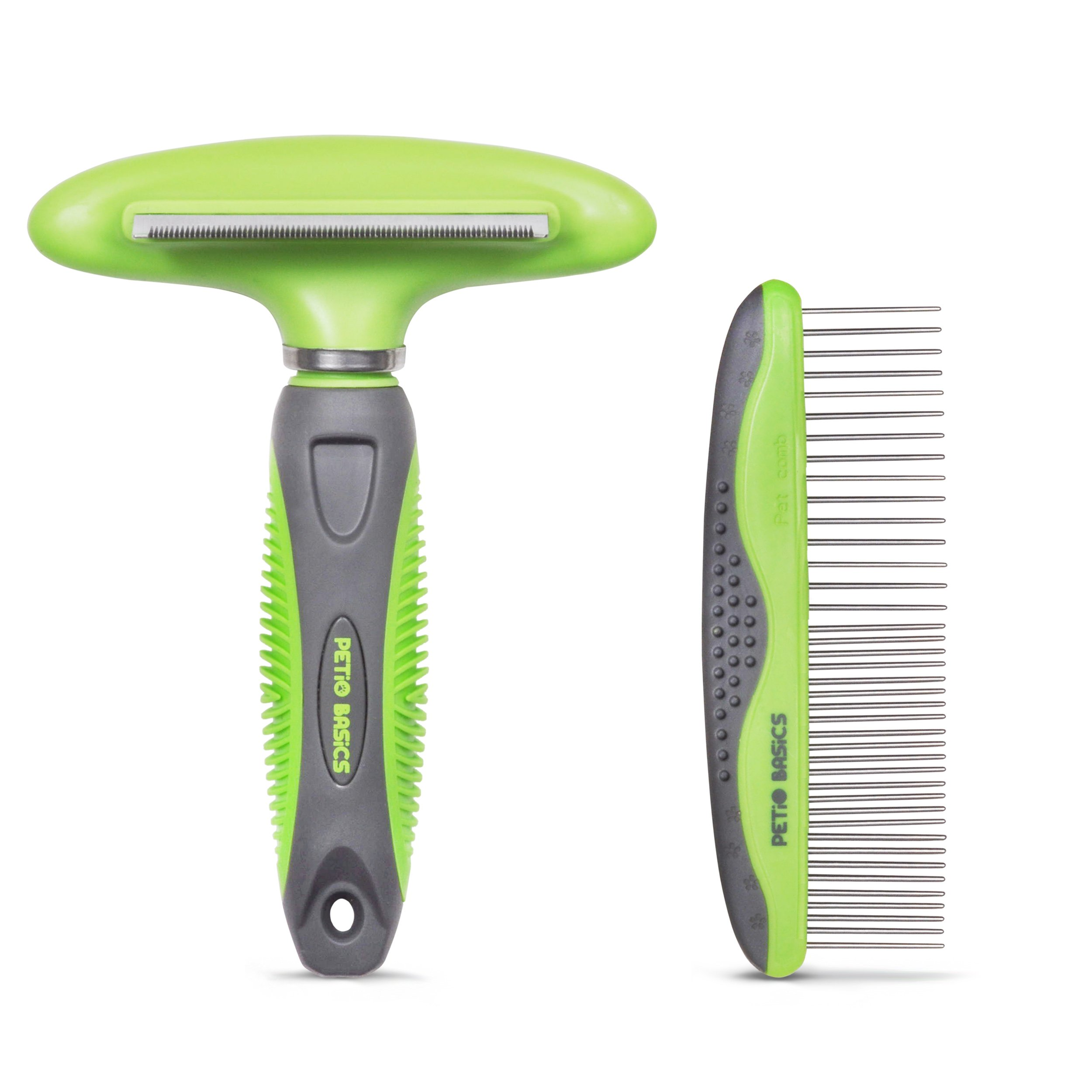 Pet Grooming Tools 2-Piece Set by Petio Basics Includes 2-in-1 Undercoat Deshedding Rake and Comb for Dogs and Cats