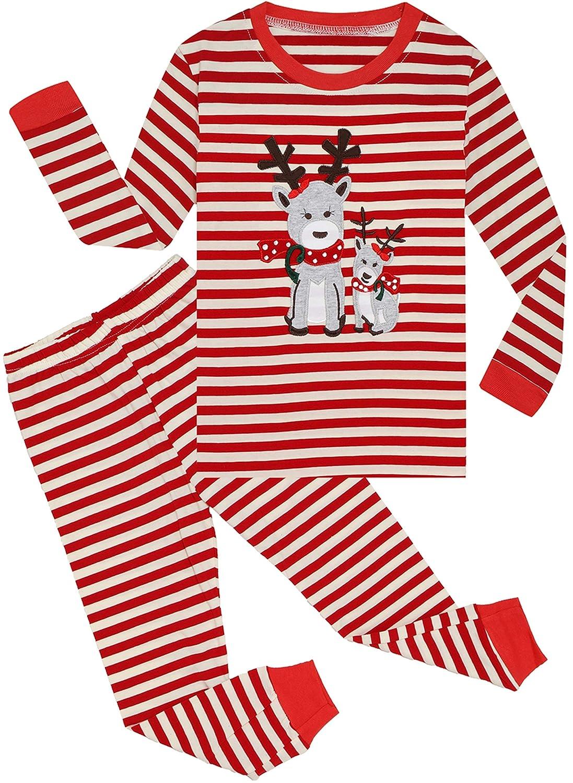 Qtake Fashion Girls Boys Christmas Pajamas Stripe Long Sleeve Sets 100/% Cotton Pjs Kids Xmas Sleepwear Size 12M-12Years