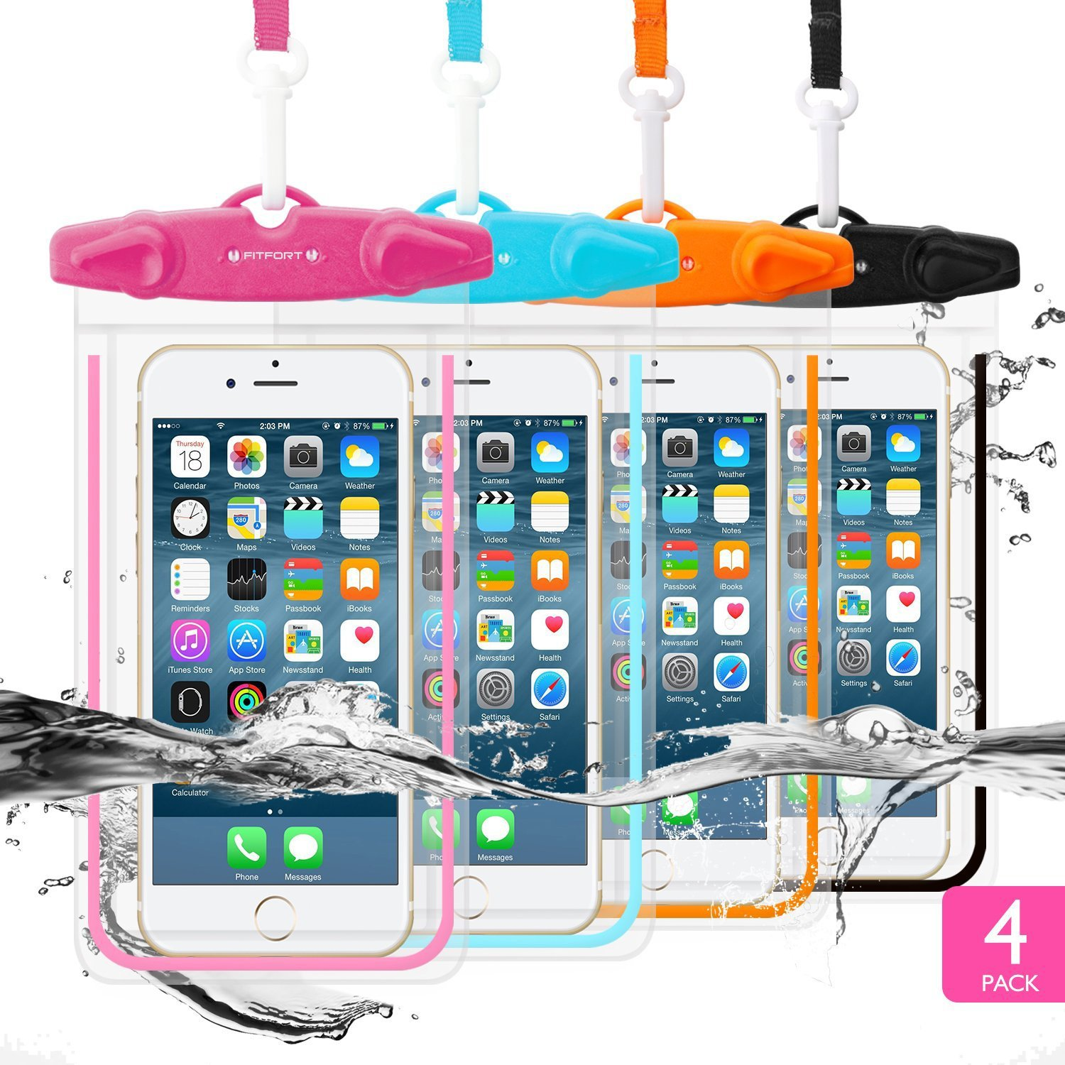 "4 Pack Universal Waterproof Case FITFORT Cell Phone Dry Bag/Pouch for iPhone X 8 7 6 6S Plus Galaxy S8/S7 Edge/S6 Note4 LG G5 Up to 5.5""(Black+Blue+Orange+Rose Red)"