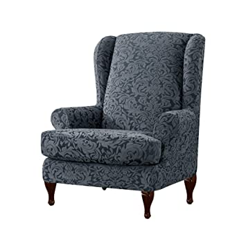 Stupendous Subrtex 2 Pieces Spandex Elastic Arm Chairs Wingback Chair Cover Waffle Fabric Wing Back Furniture Protector Stretch Sofa Slipcovers For Living Room Gmtry Best Dining Table And Chair Ideas Images Gmtryco