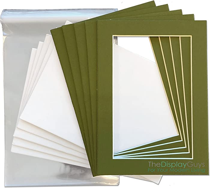 The Display Guys 5x7 Pack of 25 Secret Garden Green Picture Photo Matting Mat Boards + Backing Boards + Clear Plastic Bags Complete Set