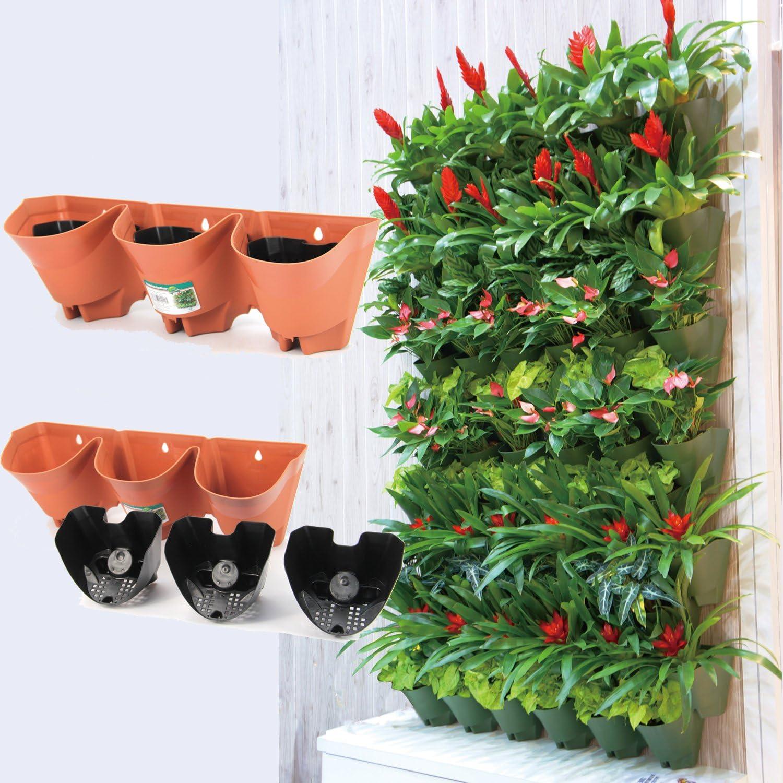 Worth Garden Terracotta Color Plastic Self-Watering 3 Pockets Vertical Wall Urban Garden Planters