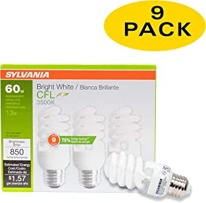 Sylvania 13W CFL T2 Spiral Light Bulb, 60W Equivalent, 850 Lumens, 3500K Bright White, Non-Dimmable (9-Pack) (Bright White)