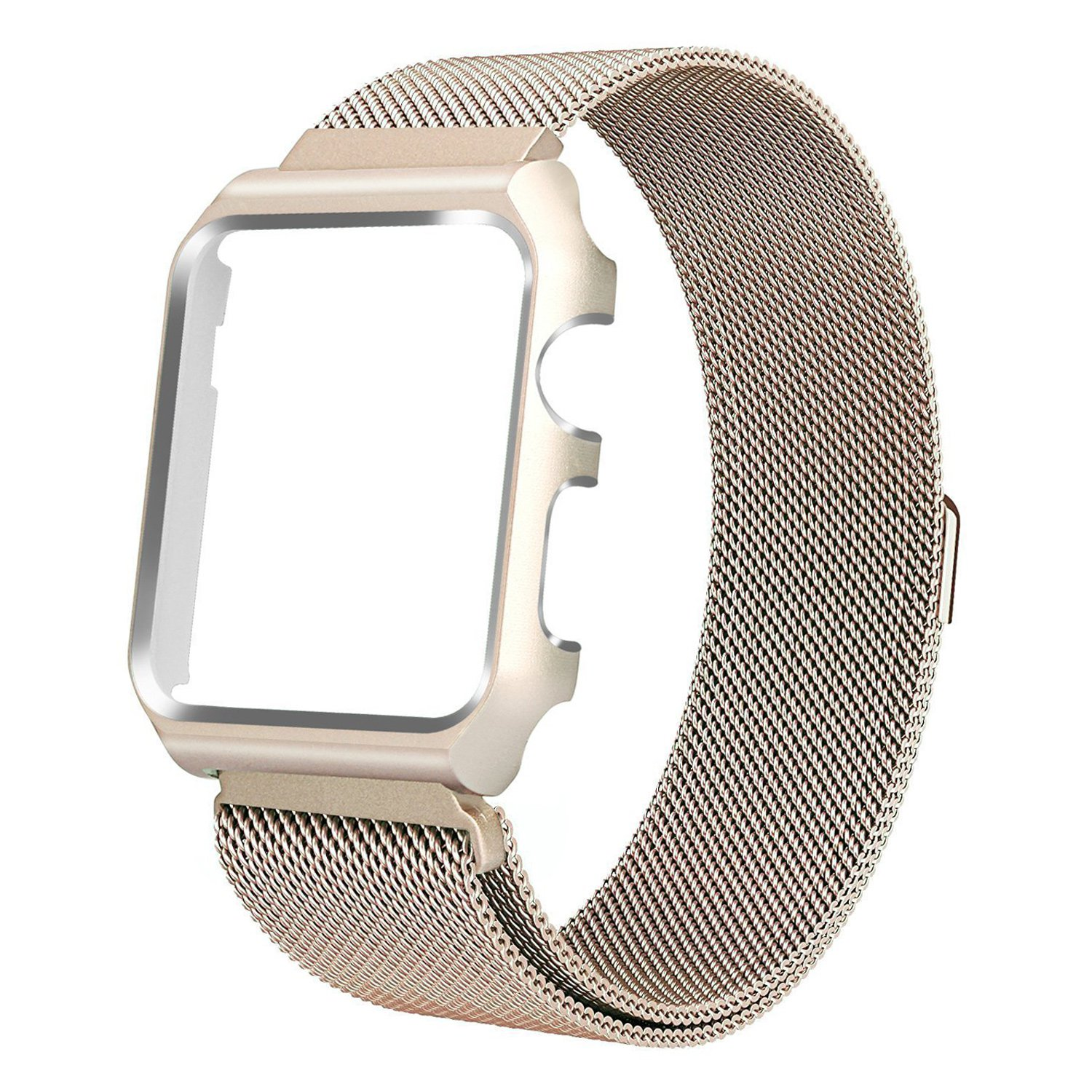 HUASIRU Apple Watch Band 38mm, Stainless Steel Milanese Loop Replacement Band with Metal Case Cover for Apple Watch Series 3, Series 2, Series 1 (Champagne Gold)