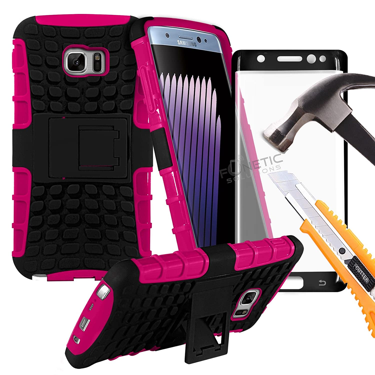 (Hot Pink) Samsung Galaxy S7 Edge case Heavy Duty mobile phone Case shockproof Tough Survivor Workman Cover and Stand Function With Full Screen Coverage 3D Curve Fit Shatterproof Tempered Glass Screen Protector by Fonetic Solutions®