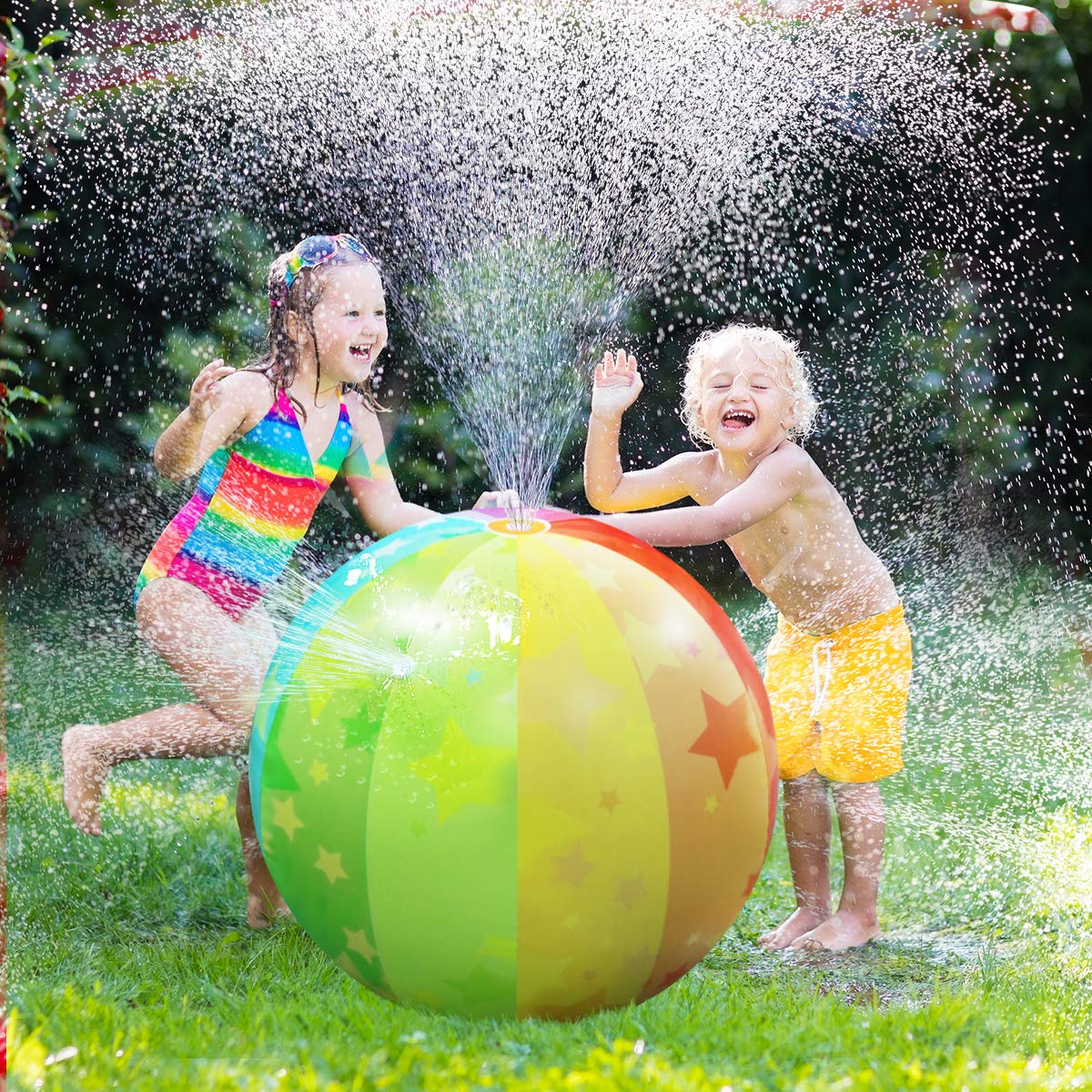 iBaseToy Sprinkler Ball Toy, Rainbow Inflatable Splash and Spray Beach Ball Water Toys for Kids Adults, Summer Outdoor Garden Backyard Swimming Beach Party Play (29.5 inches) best summer water toy