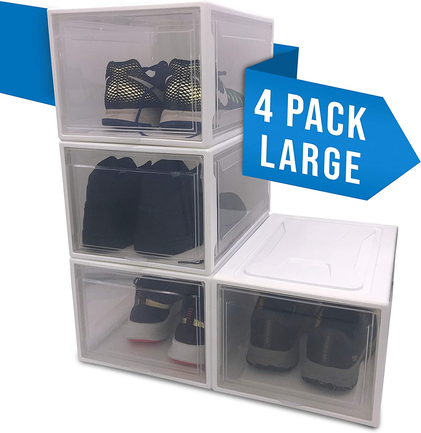 Clear Plastic Sneaker Display Containers X-Large Felicity Simplicity Stackable Shoe Storage Boxes for Men and Women Closet Organizer Shelf 4 Pack