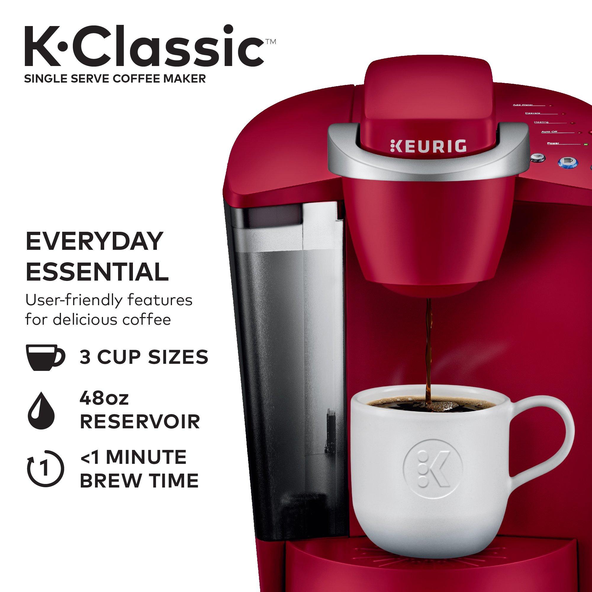 Keurig K-Classic Coffee Maker, Single Serve K-Cup Pod Coffee Brewer, 6 to 10 oz. Brew Sizes ...