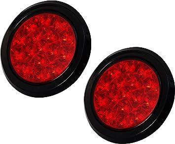 2 X Red 16 LED 12V 24V Round Stop Turn Brake Tail Light Truck Trailer RV