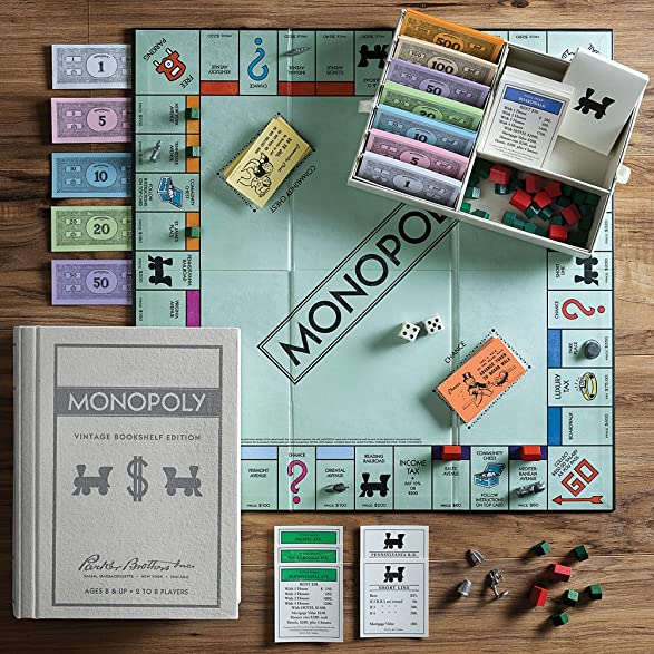 Amazon Vintage Monopoly Bookshelf Edition Game Parker Brothers Family Classic Toys Games