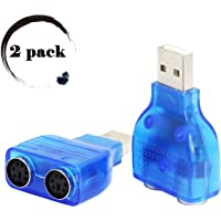 USB to PS/2 Converter,LEIHONG PS2 Adapter, USB to Dual 2 PS/2 PS2 Keyborad & Mouse Converter Cable Adapter 2 Pack