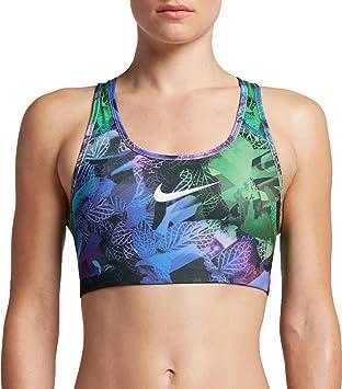 Nike Women's Pro Classic Swoosh Hydra Printed Sports Bra (Paramount Blue/Black,  ...