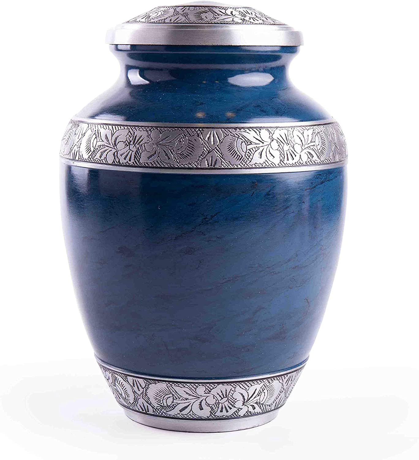 Aluminum - 10 Inch Height x 7 Inch Width Large Handcrafted Funeral Memorial with Striking Blue Design GSM Brands Cremation Urn for Adult Human Ashes