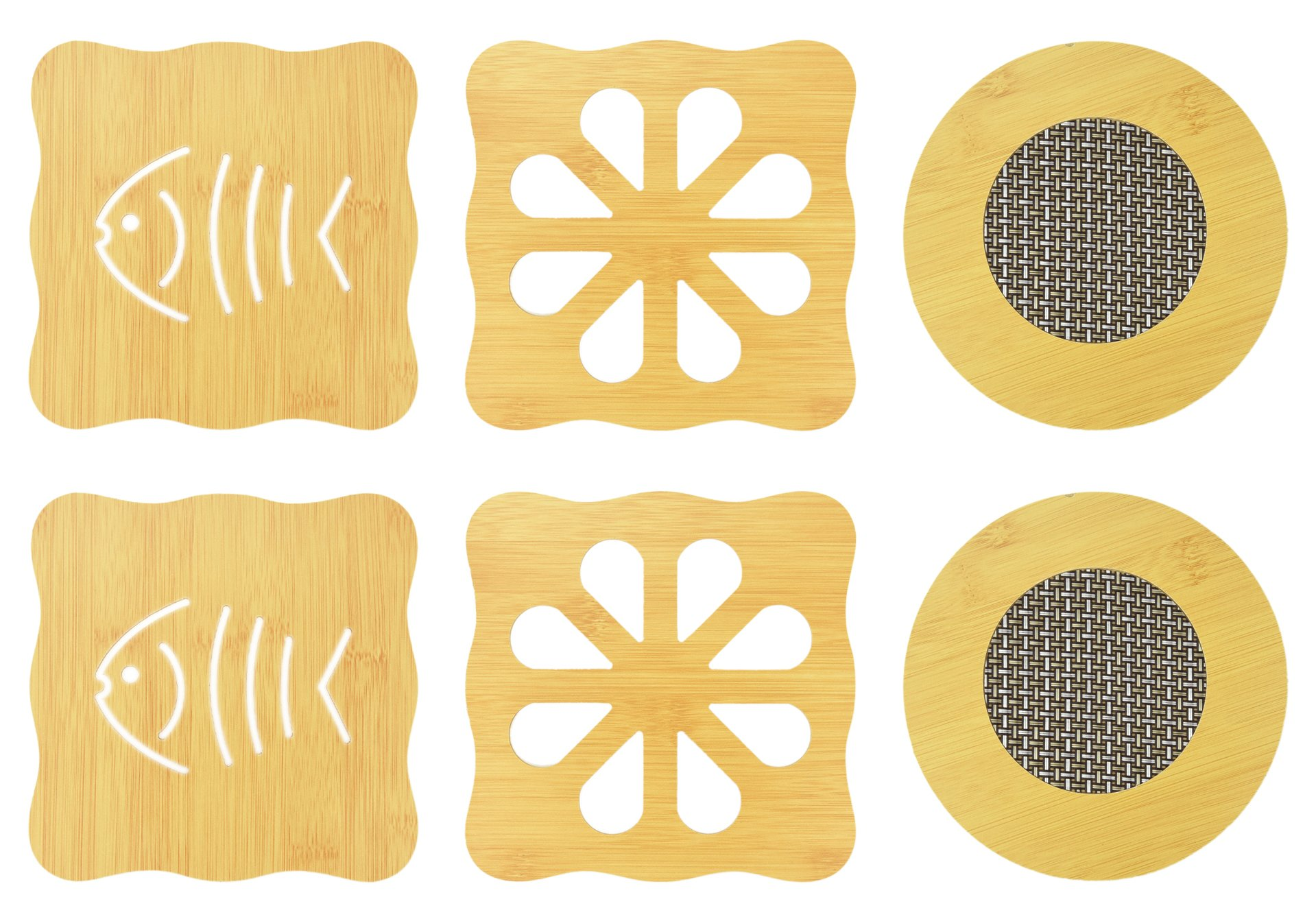 NKTM 6 Pack Bamboo Trivet Mat Set, Heavy Duty Hot Pot Holder Pads