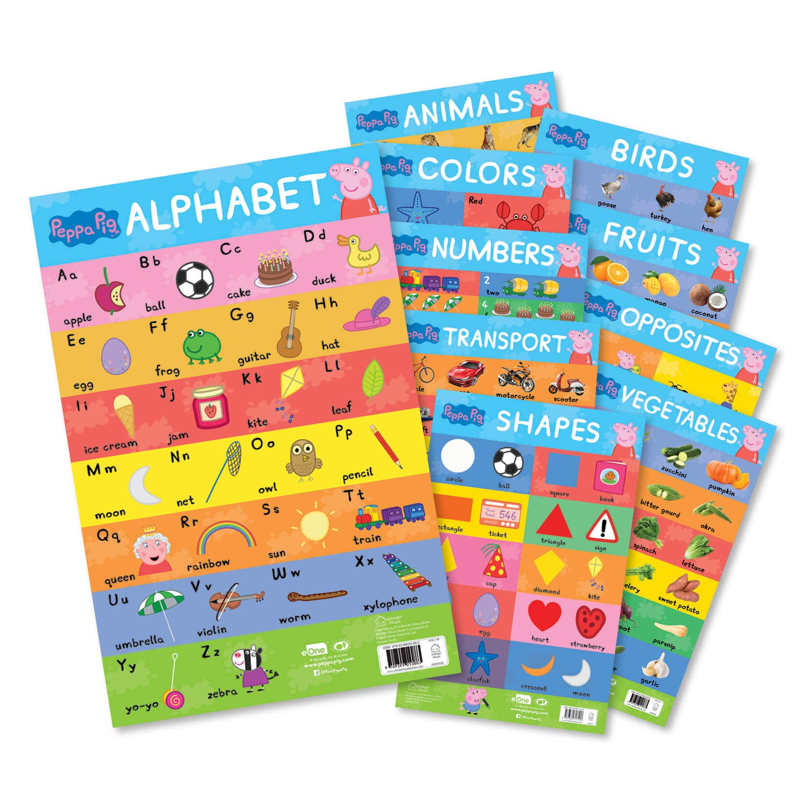 Peppa Pig – My First Early Learning Charts : Learning With Peppa (10 Charts – Alphabet, Animals, Birds, Colors, Fruits, Numbers, Opposites, Shapes, Transport, Vegetables)