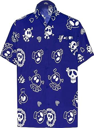 LA LEELA Casual Camisa Hawaiana Manga Corta Bolsillo Delantero hombre impresión De Hawaii Playa Cráneo Cosplay Vintage Piratas esqueleto Calabaza Skulls Disfraces De Fiesta De Halloween Costume XS-7XL: Amazon.es: Ropa y accesorios