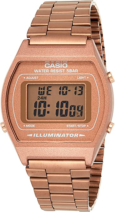 Casio Reloj digital retro unisex B640WB con pulsera de acero inoxidable.