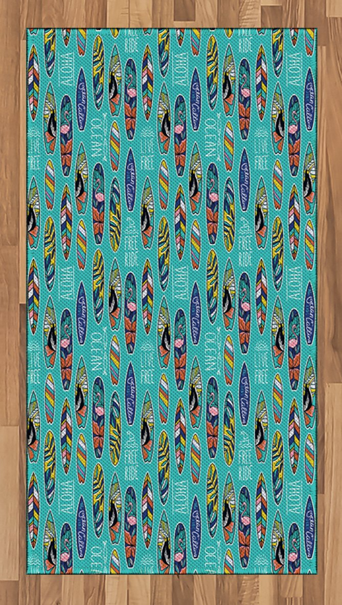 Ambesonne Surfboard Area Rug, Aloha Hawaii Live Free Ocean Water Sports Inspired Pattern Coastal Inspirations, Flat Woven Accent Rug for Living Room Bedroom Dining Room, 2.6' x 5', Seafoam Indigo by Ambesonne