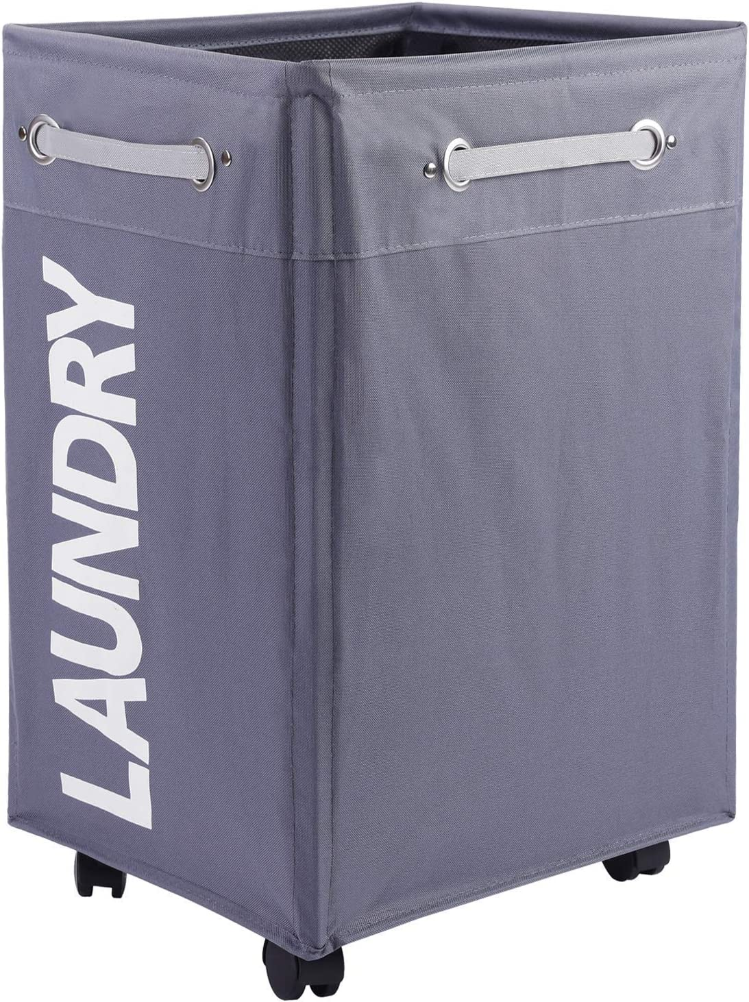 Haundry Rolling Laundry Basket with Wheels, Bathroom Laundry Hamper Large Wheeled Dirty Clothes Bin