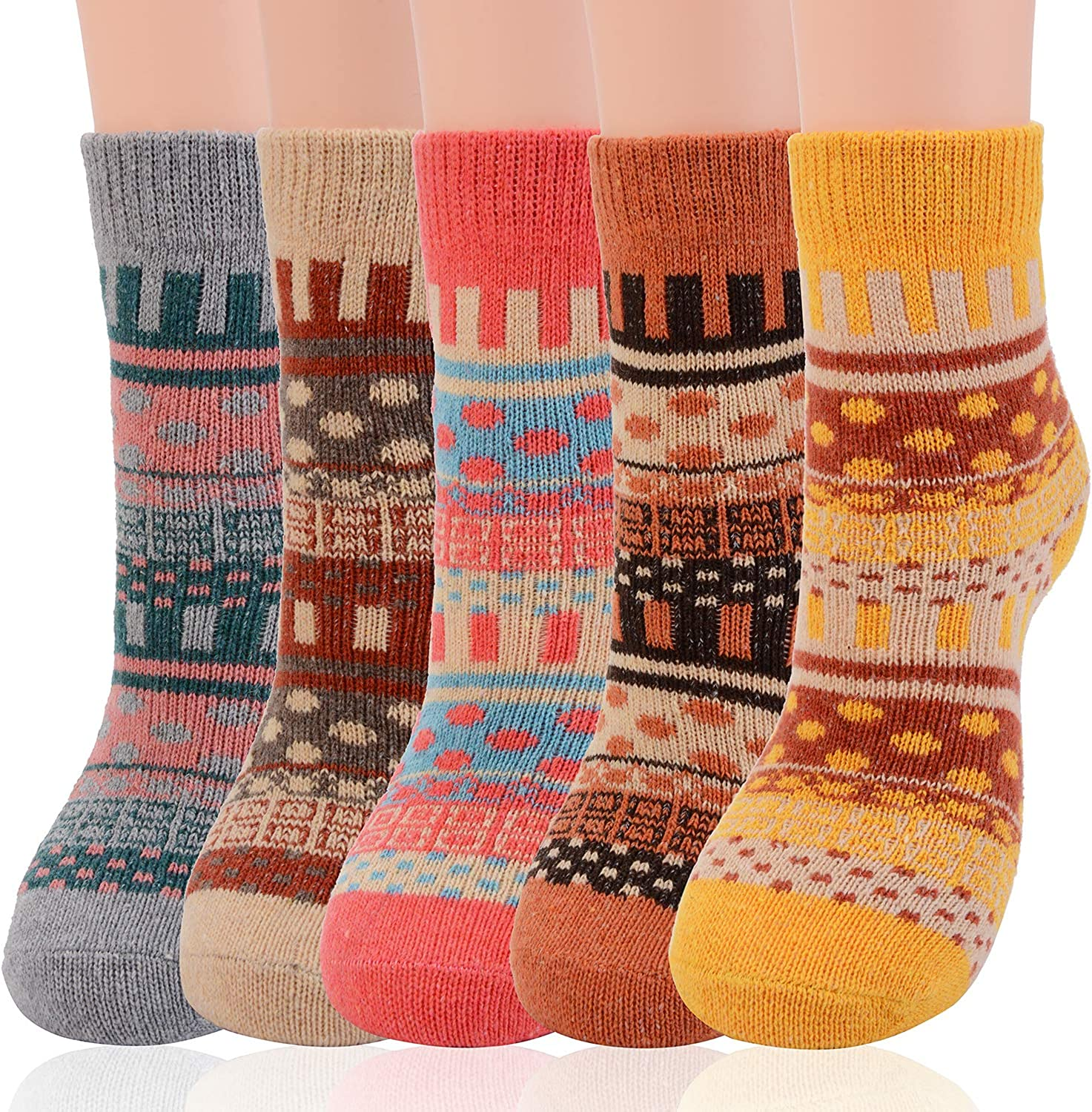 Womens Breathable Comfortable Soft Thick Socks Colourful Colour Premium Quality Great Gift CUQOO 5 Pairs of Ladies Winter Wool Socks