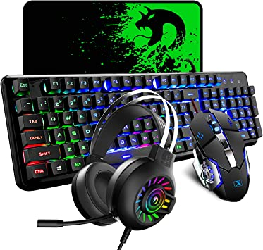 Teclado con cable Mouse Combo Set 104 teclas Teclado para juegos con retroiluminación LED 4-en-1 + 2400 dpi Ratón óptico + Auriculares Rainbow Light + ...