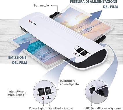 Bianco Ultraoffice DIN A4 Plastificatrice per Fogli Compatta Adatto per Proteggere Documenti sia Privati che d/'Ufficio Utilizzabile come Plastificatrice a Caldo e a Freddo