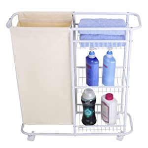 Mythinglogic Laundry Sorter Hamper Rolling Laundry Storage Cart Heavy-Duty Laundry Hamper with 3-Tiered Shelving Baskets Small Space Organization - White