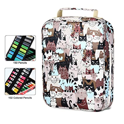0da6d5c915c3 Aolvo 150 Slots Kawaii Pencil Case, Large Capacity Zip Pencil Case  Waterproof Oxford Cloth Pens Holder Bag with Handle for Watercolor Pens &  Markers ...