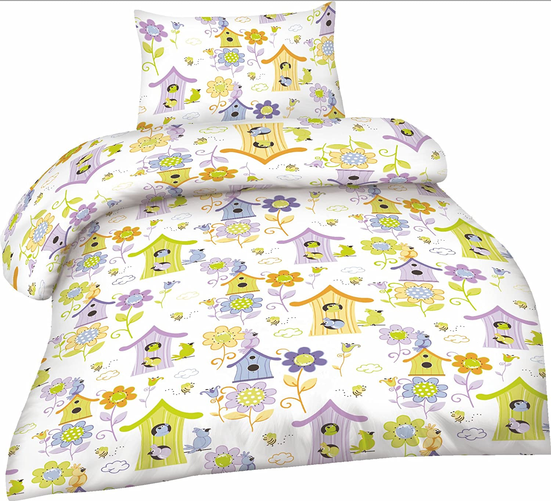 Microfibre Parure De Lit Enfant 2 pièces 100x135 cm + 40x60 cm Oeko-Tex Standard 100 - FLEURS, 100 cm x 135 cm Optidream