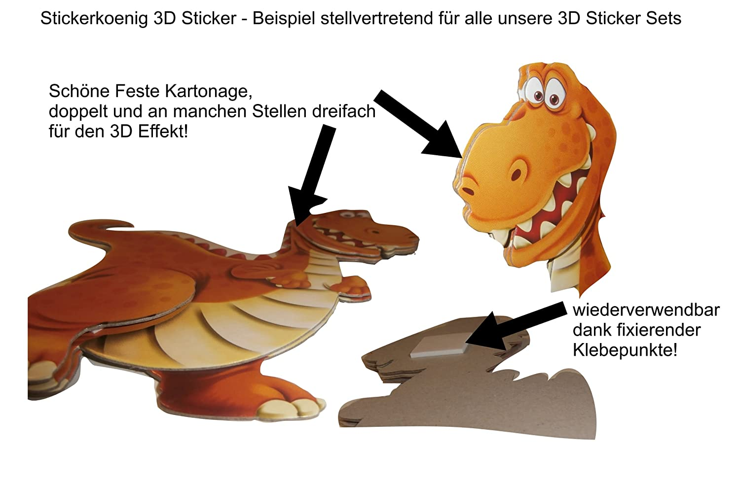 Amazon.de: Stickerkoenig Wandtattoo 3D Sticker Wandsticker ...