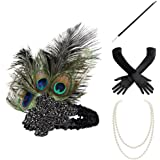 BABEYOND 1920s Flapper Gatsby Costume Accessories Set 20s Flapper Headband Pearl Necklace Gloves Cigarette Holder