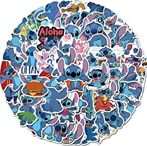Lilo & Stitch Caroon Stickers 50pcs Waterproof Vinyl for Waterbottle Laptop Luggage Car Motorcycle Bicycle Fridge DIY Styling Vinyl Home Especially a Good Toy for Kids(Lilo & Stitch)