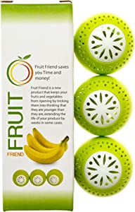 FRUIT FRIEND Produce Preservers 3 pack - Keep Fruits & Vegetables Fresh For Longer - Safe Food Grade Silicone Storage Balls - Ethylene Gas Absorbing Technology Delays The Ripening Process