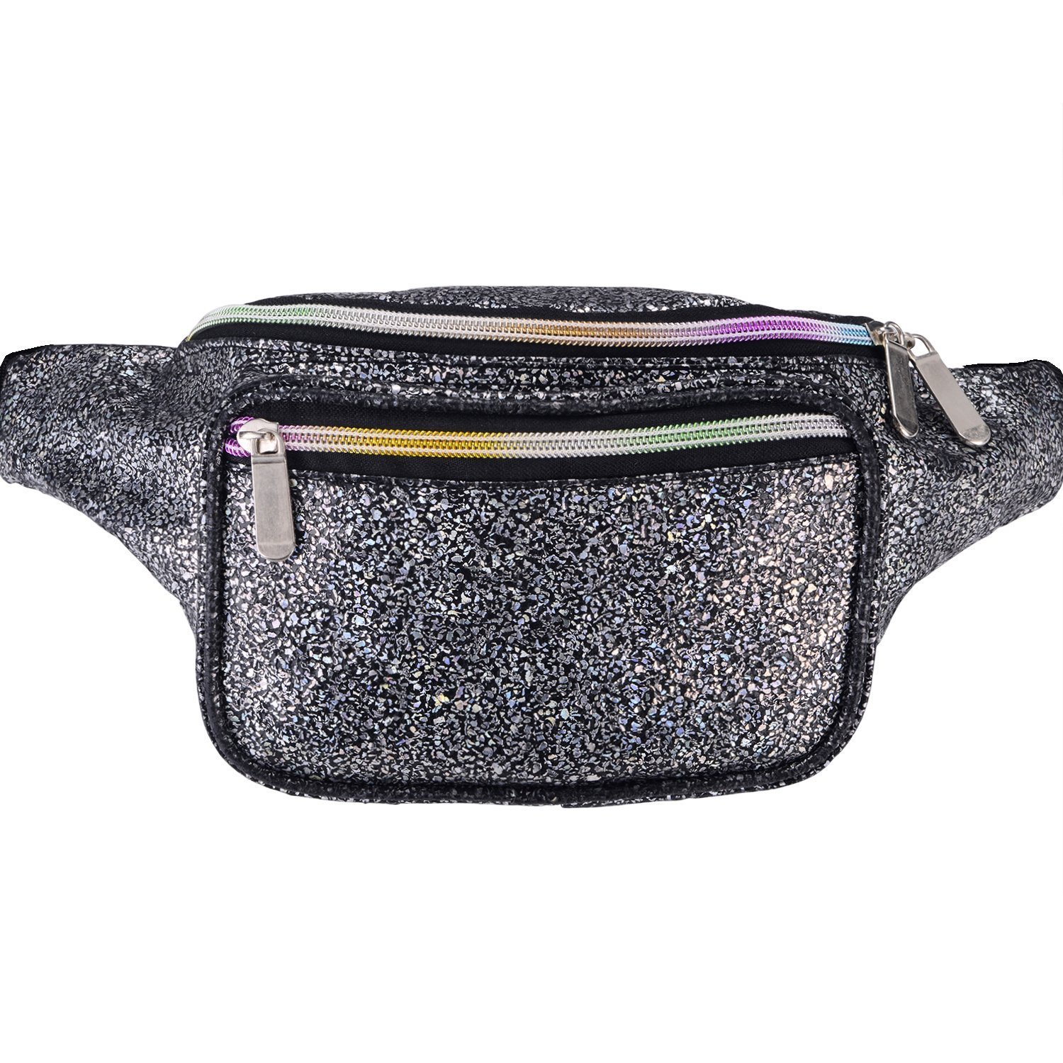Miracu Holographic Neon Fanny Packs for Women, Fashion Cute Fanny Pack for Rave, Festival (Black)